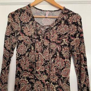 Paisley Print Boho Midi Dress
